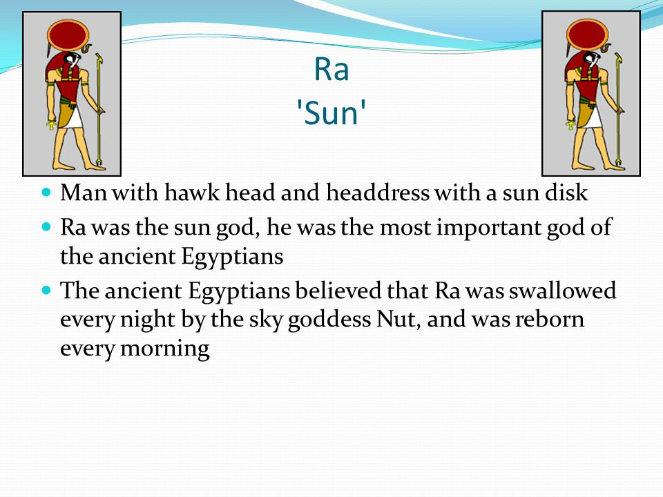 Ra Sun Man with hawk head and headdress with a sun disk