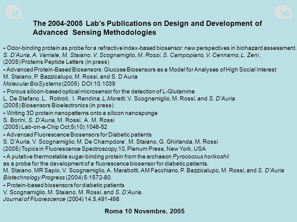 The 2004-2005 Lab's Publications on Design and Development of Advanced Sensing Methodologies