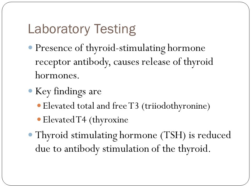 Laboratory Testing Presence of thyroid-stimulating hormone receptor antibody, causes release of thyroid hormones.