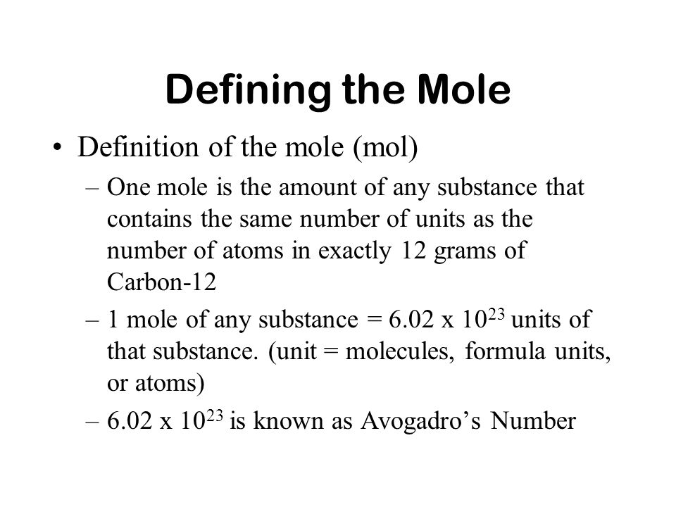 THE MOLE CONCEPT. - ppt video online download