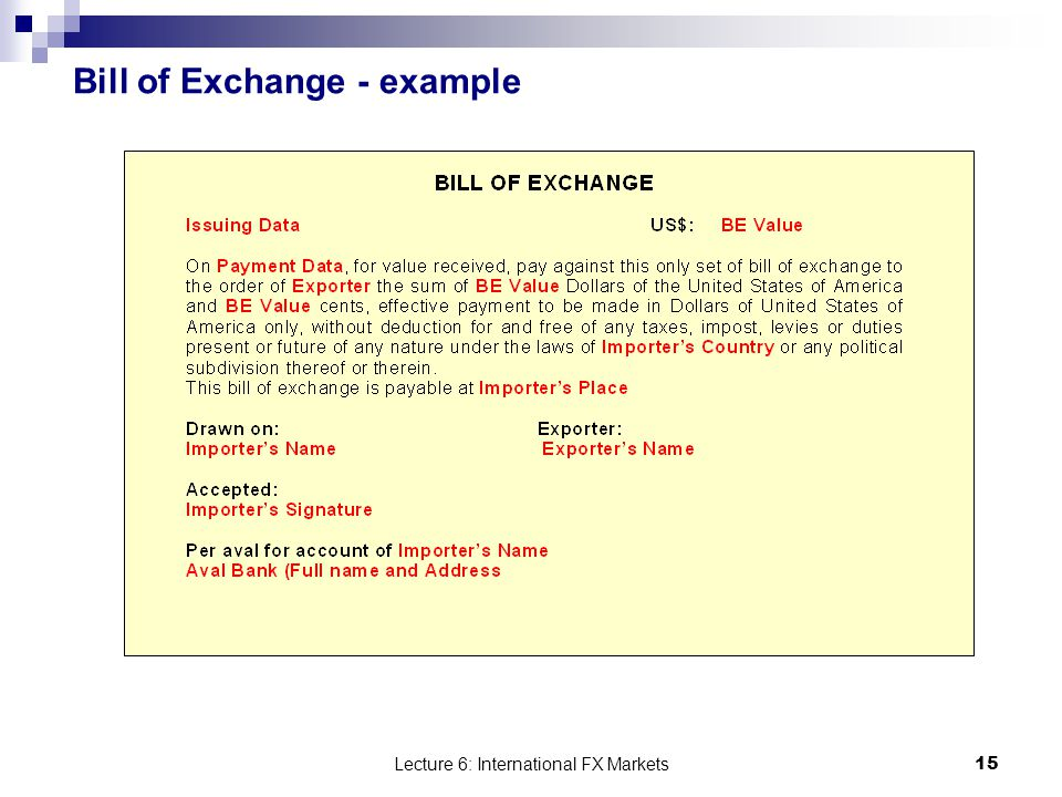 15 Lecture ...  Bill Of Exchange Sample