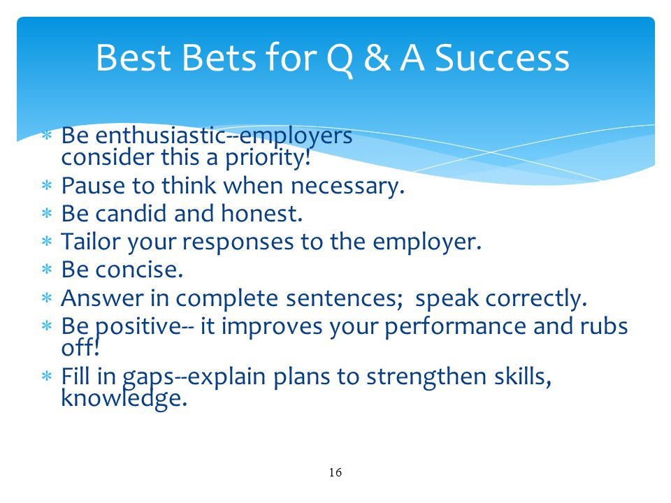 Best Bets for Q & A Success