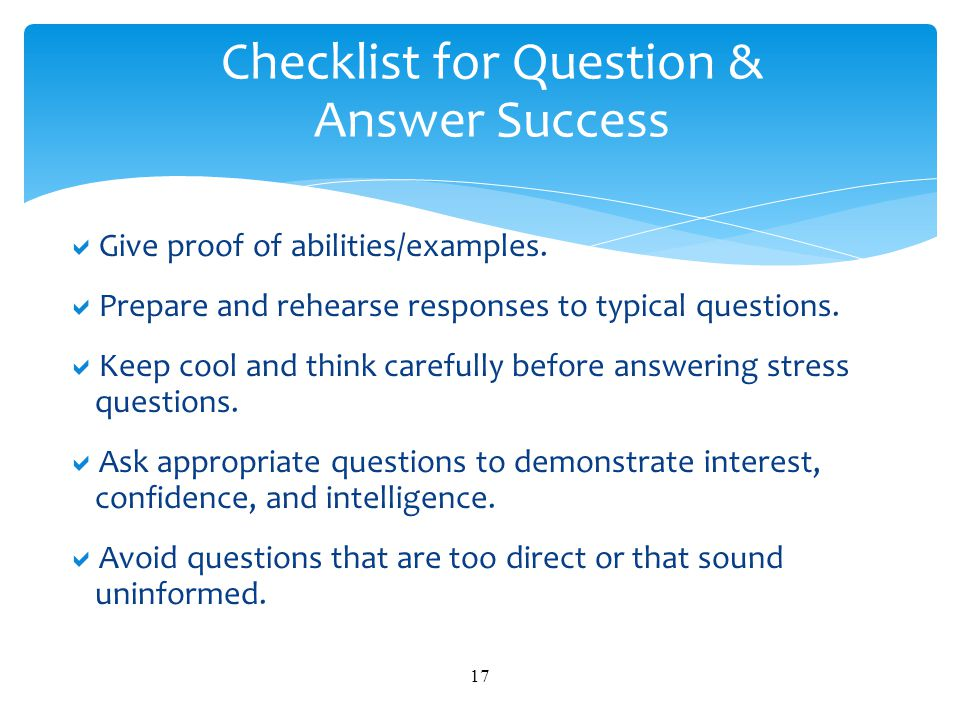 Checklist for Question & Answer Success