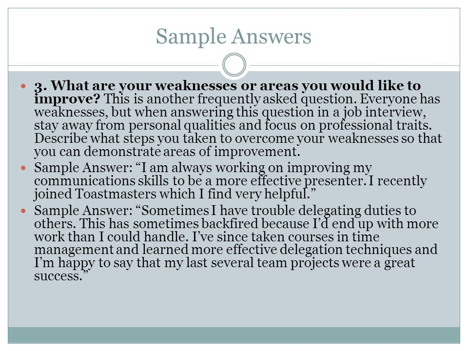 writing a reference areas for improvement interview