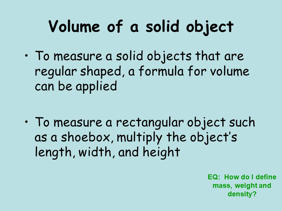 Volume of a solid object