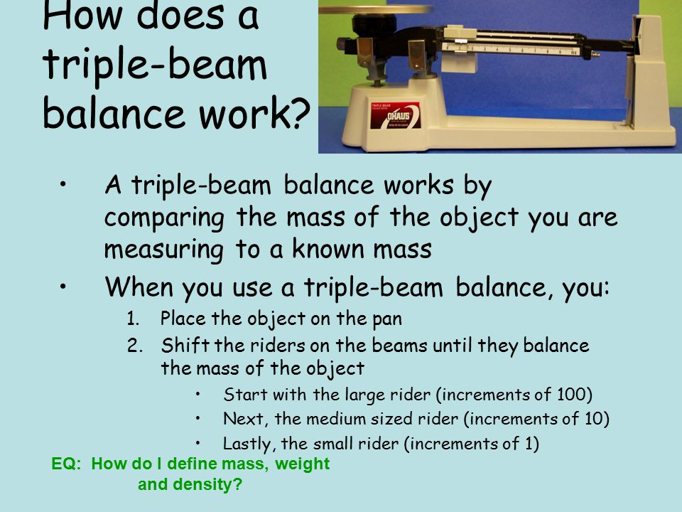 How does a triple-beam balance work