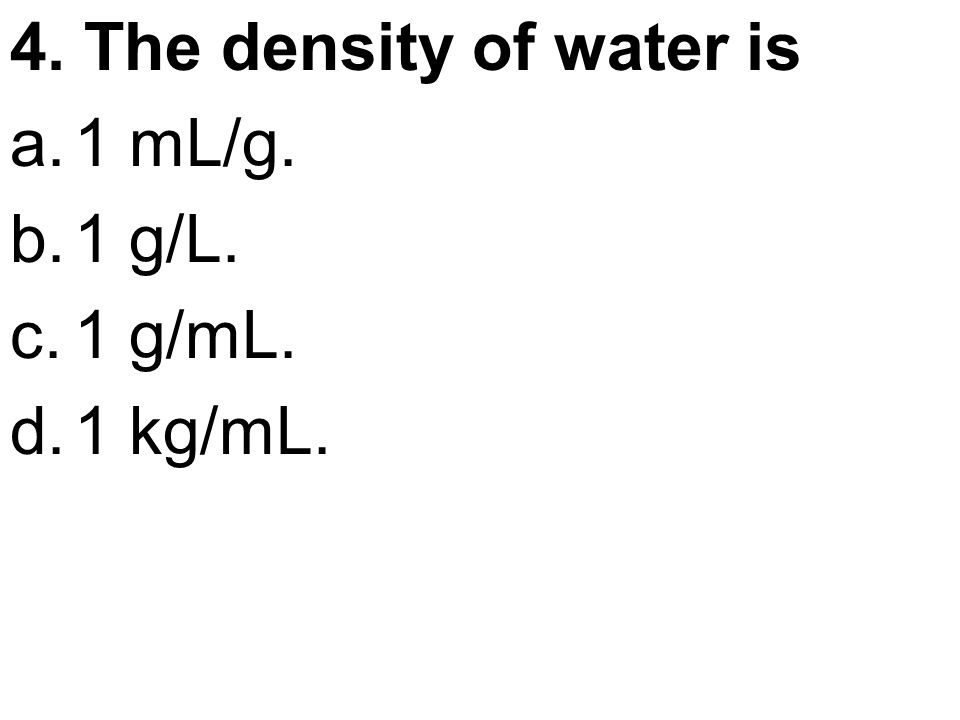 density water and ml Data table 1 density of liquids ethanol water mass of 10ml graduated cylinder from chm 1045 at florida state university.