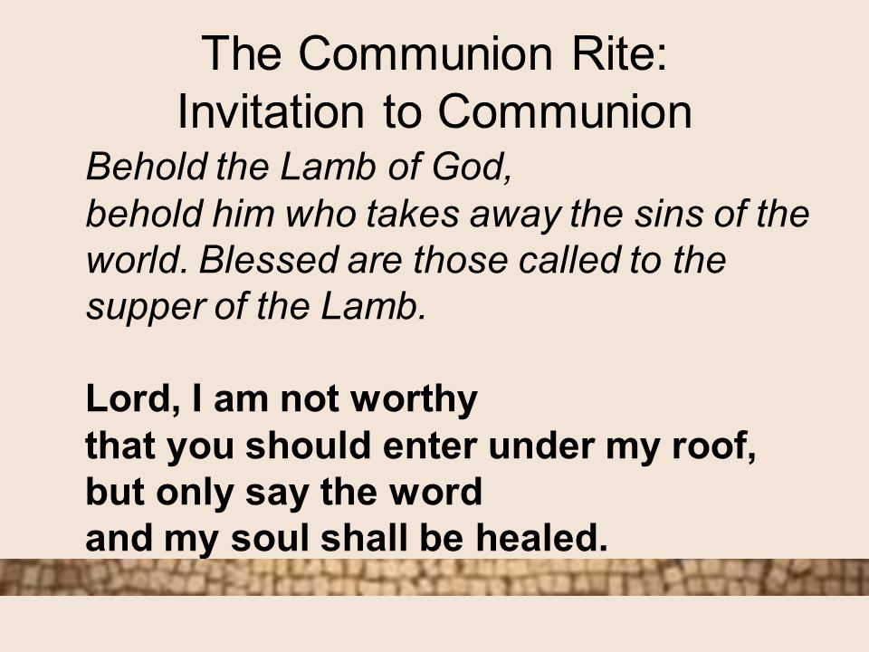 The order of the mass ppt video online download the communion rite invitation to communion stopboris Gallery