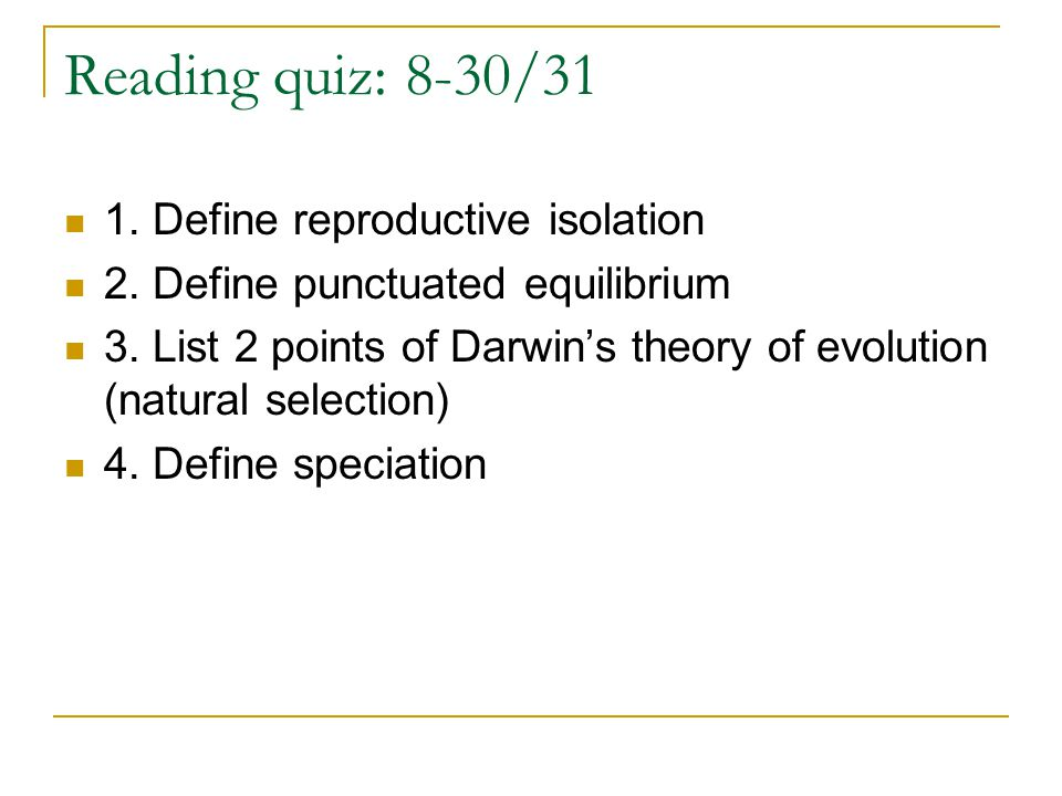 Natural Selection And Speciation Quiz