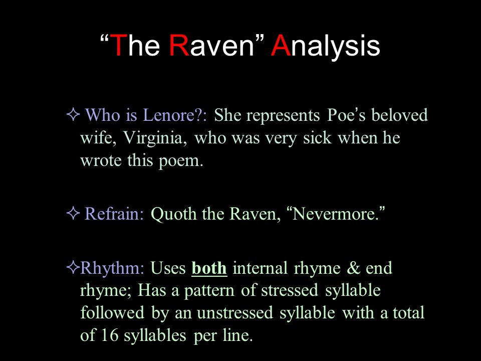 an analysis of symbolism in the raven Cultural depictions of ravens this article has multiple issues please help improve it or they are said to be a symbol of bad luck who interpreted the bible allegorically, stated that noah's raven was a symbol of vice, whereas the dove was a symbol of virtue.