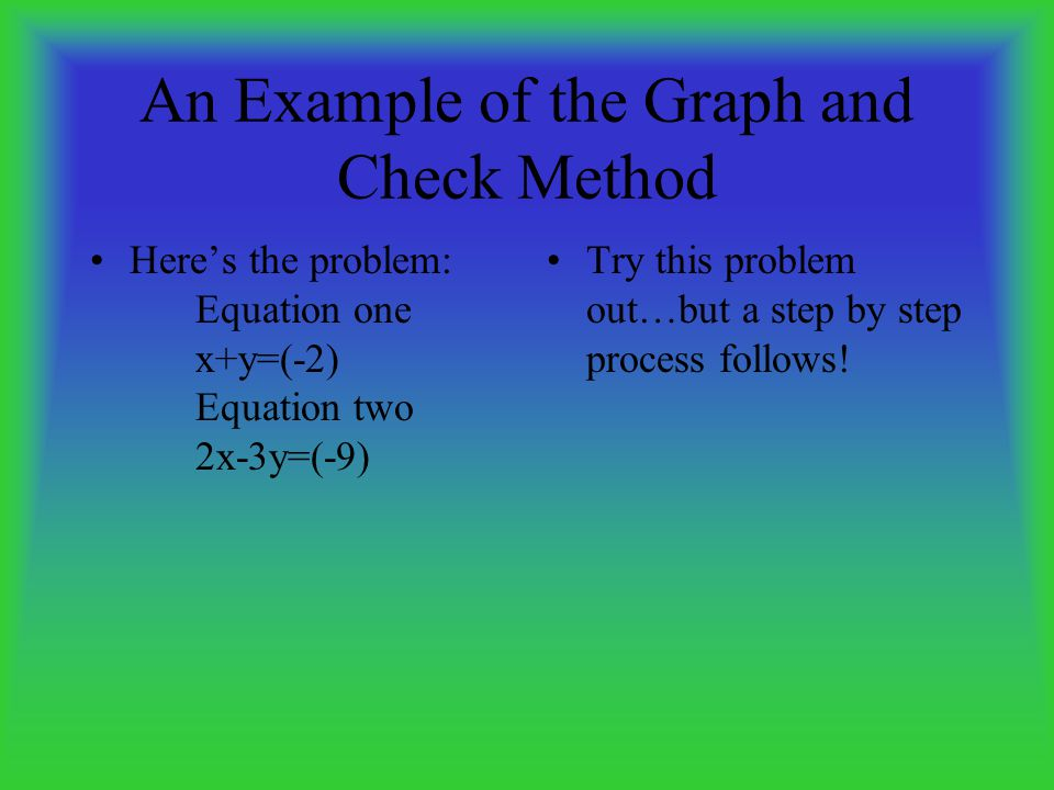 An Example of the Graph and Check Method