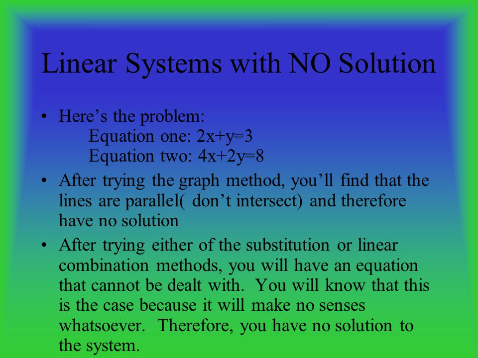graphing substitution linear combination essay Systems of linear equations can be solved using a variety of methods  the  graphing method, the substitution method, and the linear combination method.