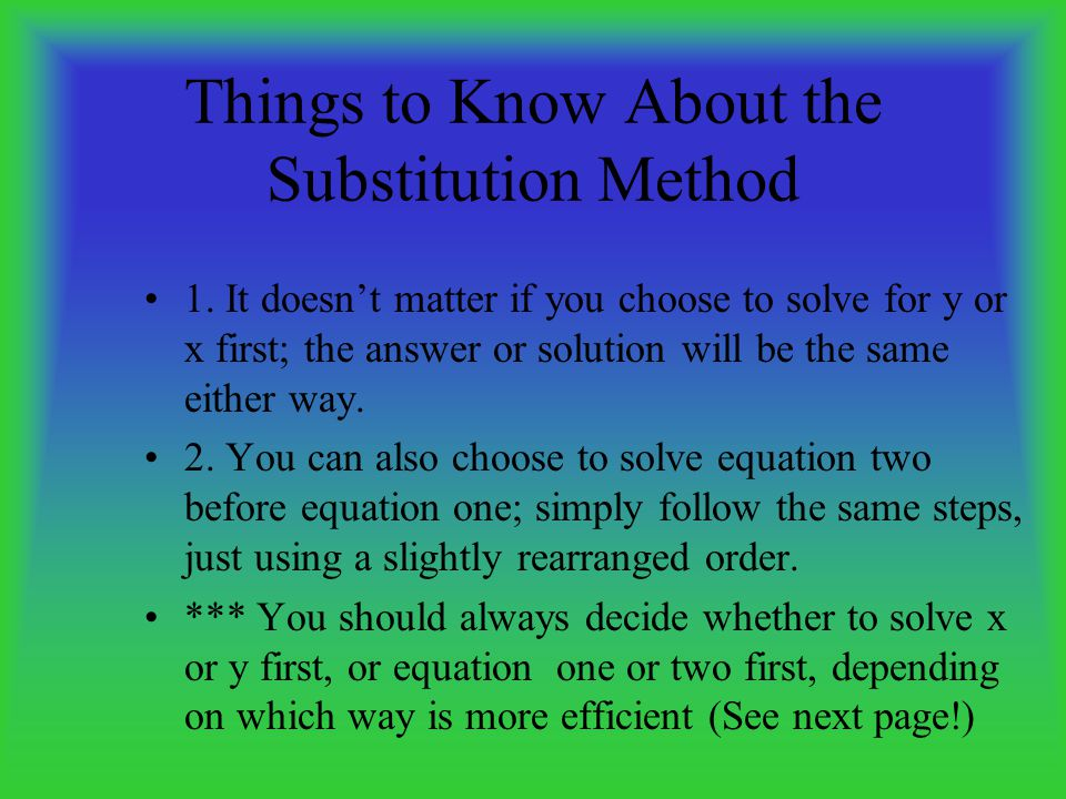 Things to Know About the Substitution Method