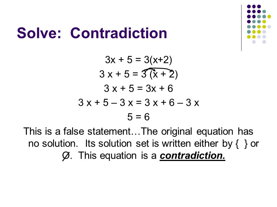 Solve: Contradiction 3x + 5 = 3(x+2) 3 x + 5 = 3 (x + 2)