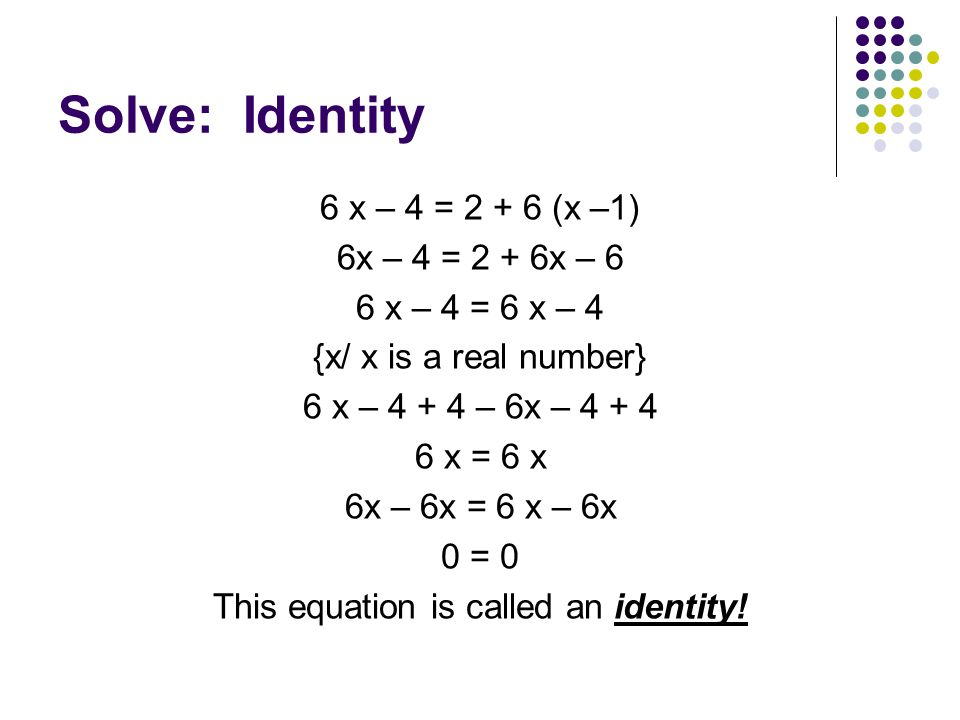 This equation is called an identity!