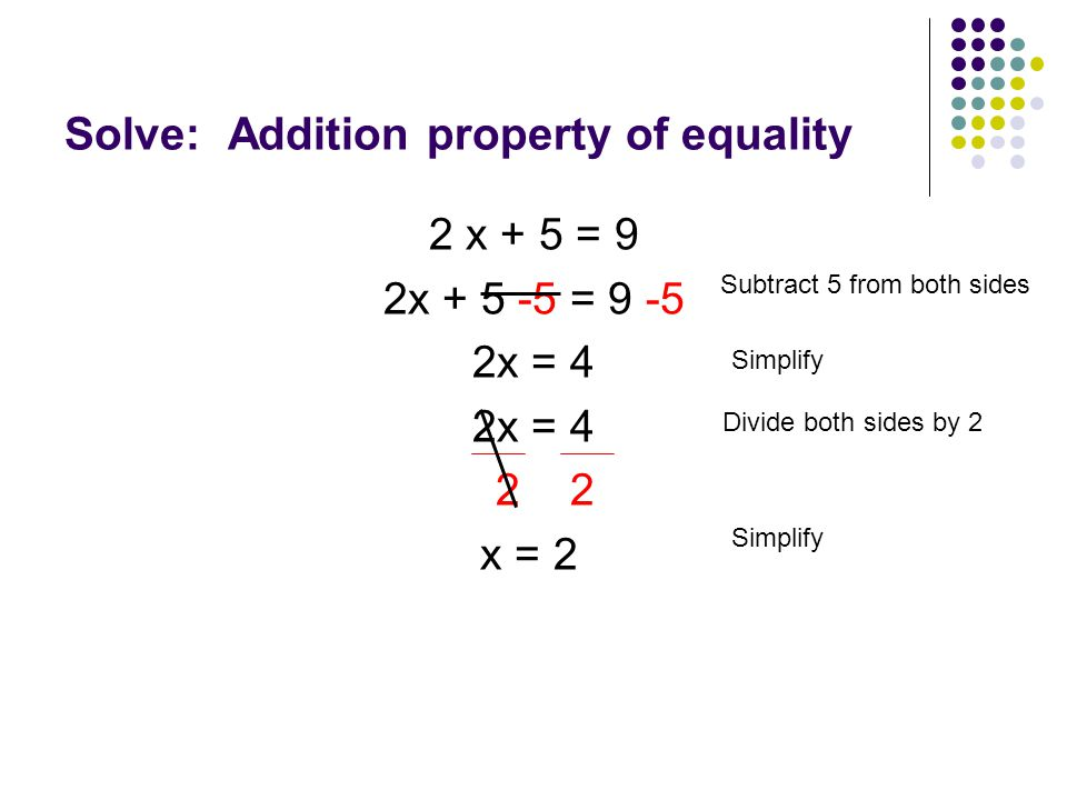 Solve: Addition property of equality