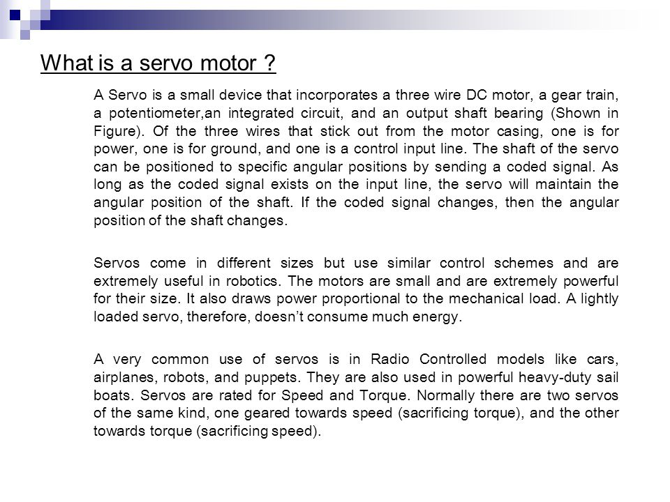 Servo motor power calculation for Bent creek motors inventory