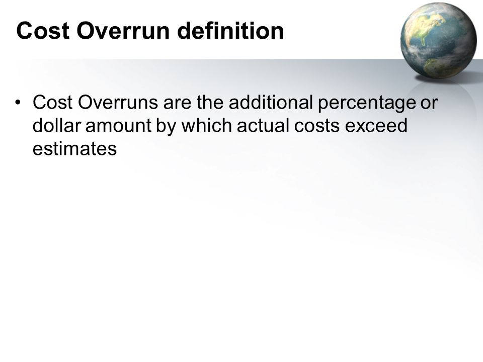 Cost overrun factors and project cost
