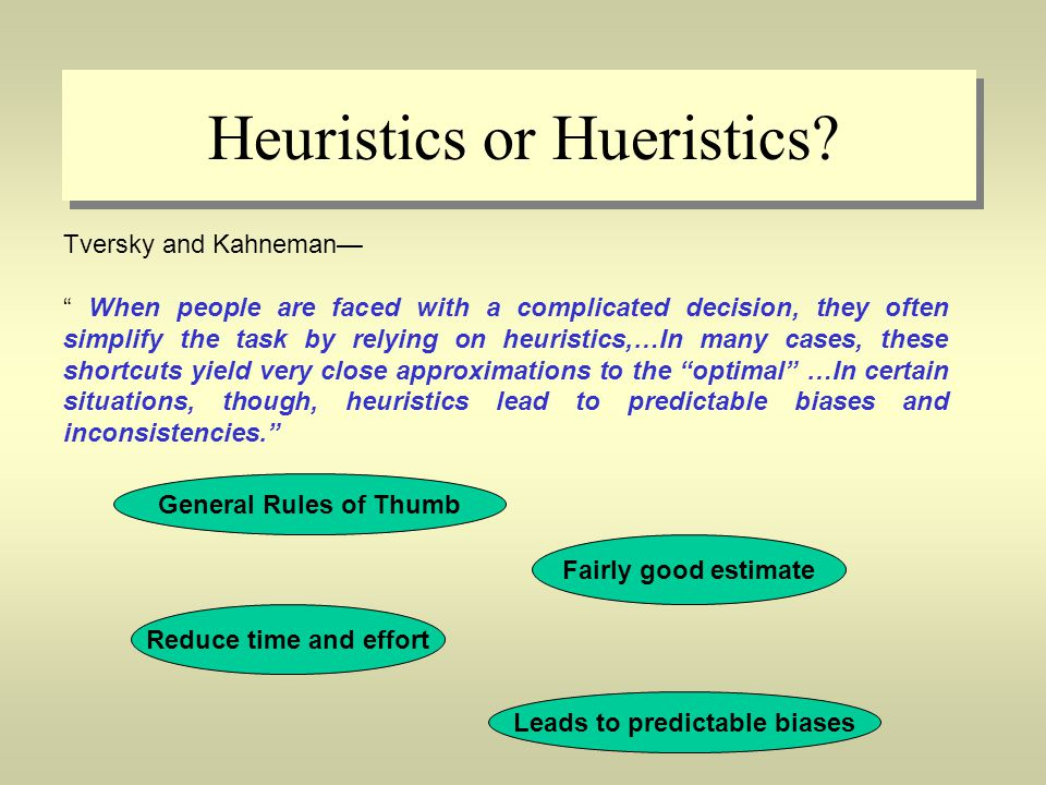 heuristics lead to predictable biases and inconsistencies essay These systematic departures from rational assessment do not imply that coherent and accurate probabilistic thinking of probabilities, and these heuristics lead to biases that will allow them to be investigated in a systematic manner the reader is referred, for example, to the essay.