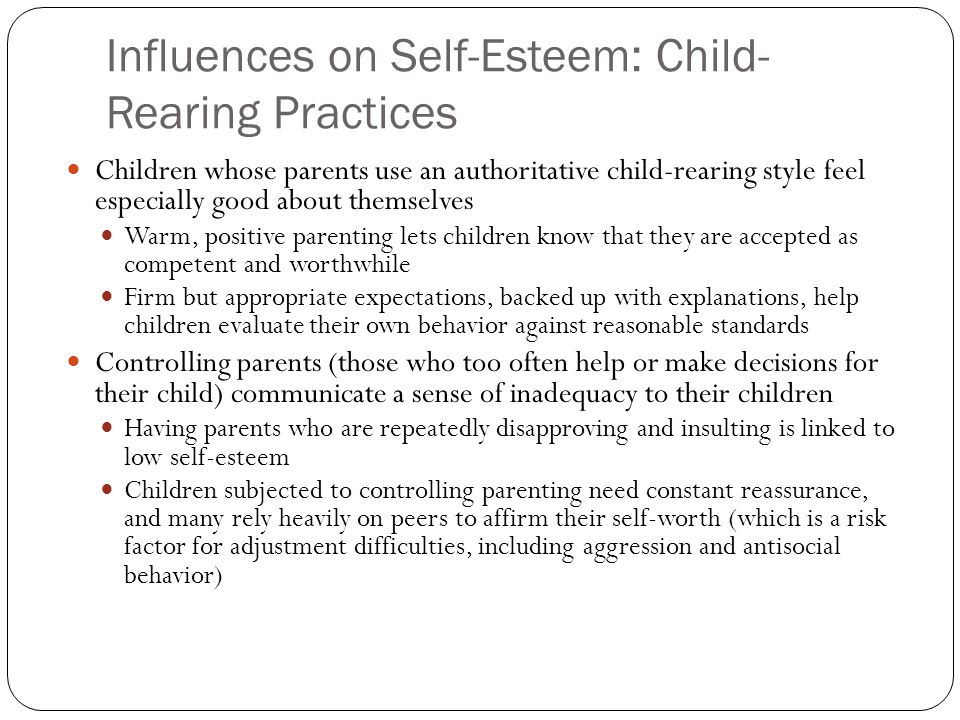 parenting style and a child s personality influences the development of self esteem Parenting style and its influence on the personal and moral development of the   of parents and their estimated impact on the structure of the child's personality .