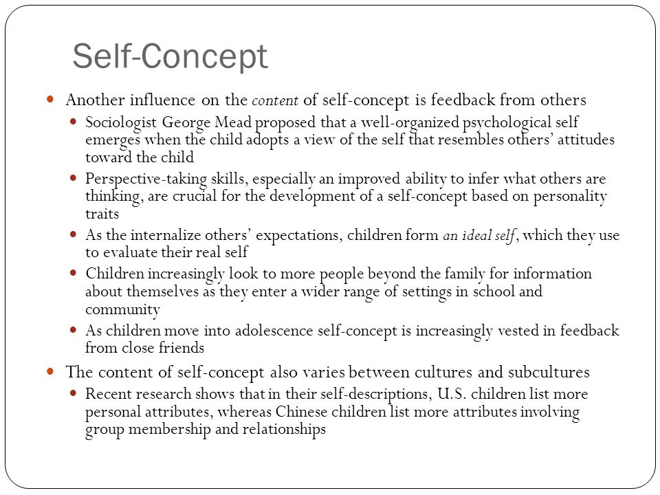 self concept in childhood and adolescence and The development of self-conceptions from childhood to adolescence raymond montemayor department of family and consumer studies the university of utah  self-concept development between child-hood and adolescence have been primarily based on either role theory (elder, 1968) or a.