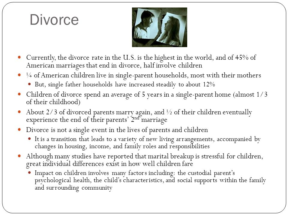 Divorced single parenting and child development