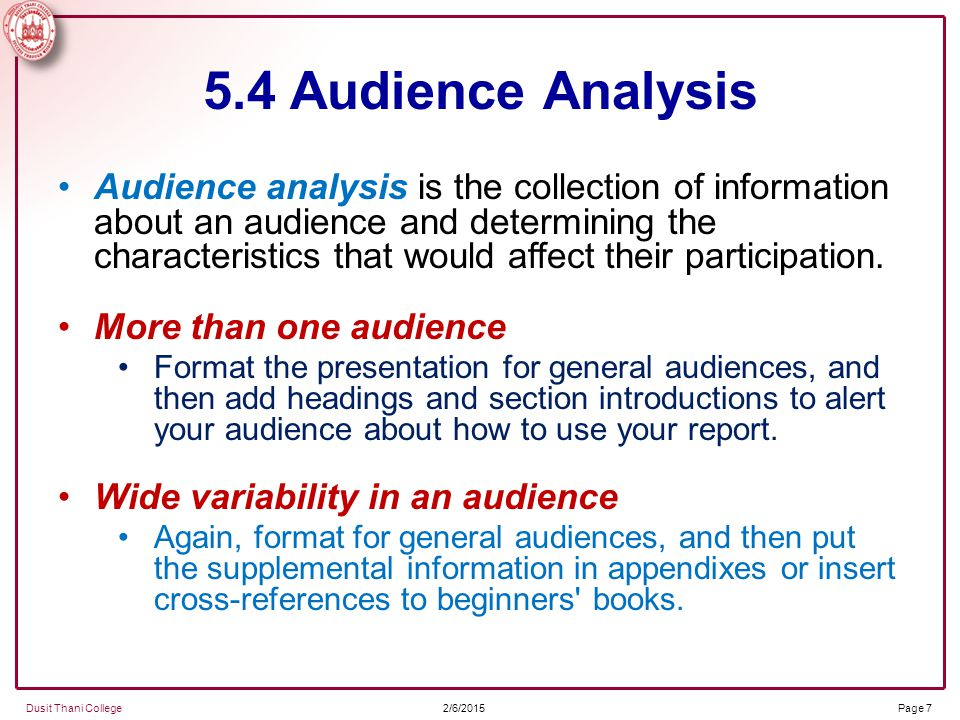 audience characteristics Audience adaptation overview audience analysis involves identifying the audience and adapting a speech to their interests, level of understanding, attitudes, and.