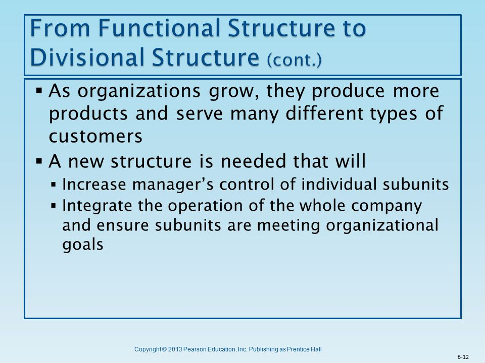 From Functional Structure to Divisional Structure (cont.)