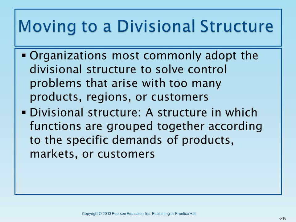 Moving to a Divisional Structure
