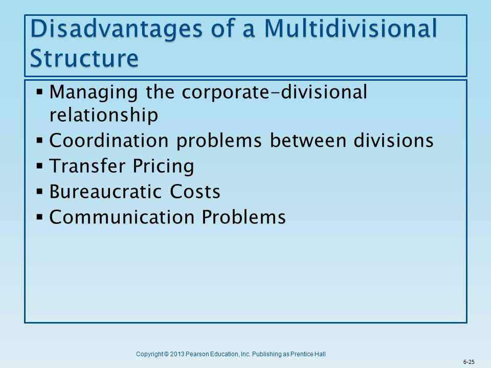 Disadvantages of a Multidivisional Structure