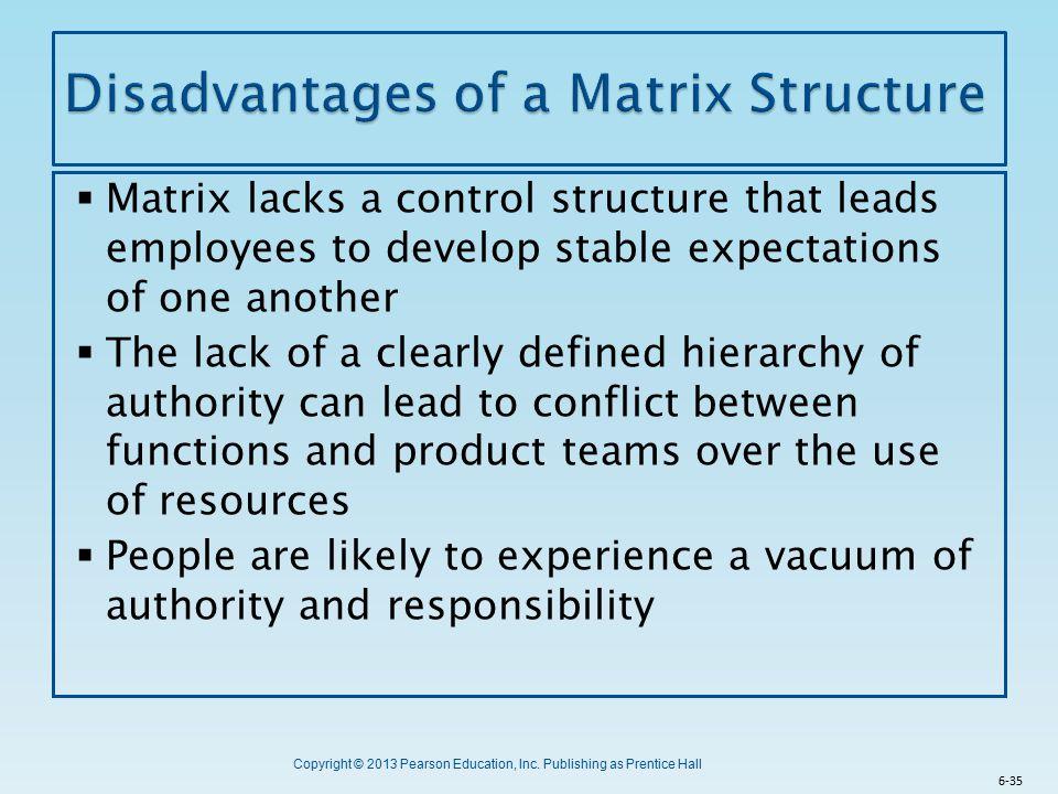 Disadvantages of a Matrix Structure