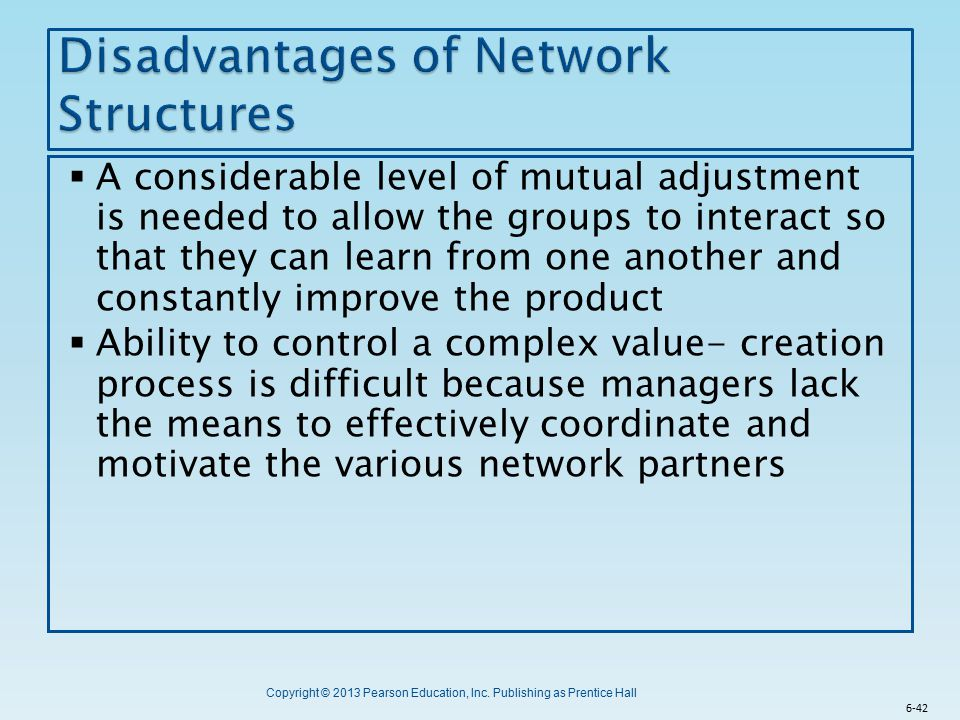 Disadvantages of Network Structures