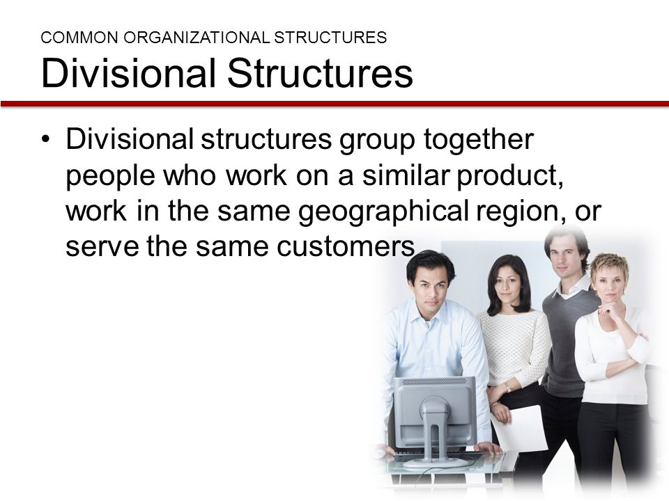 COMMON ORGANIZATIONAL STRUCTURES Divisional Structures