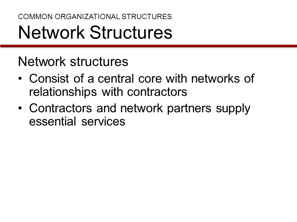 COMMON ORGANIZATIONAL STRUCTURES Network Structures