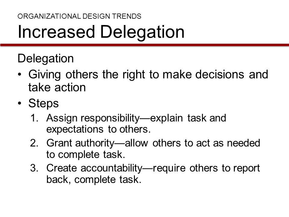 ORGANIZATIONAL DESIGN TRENDS Increased Delegation