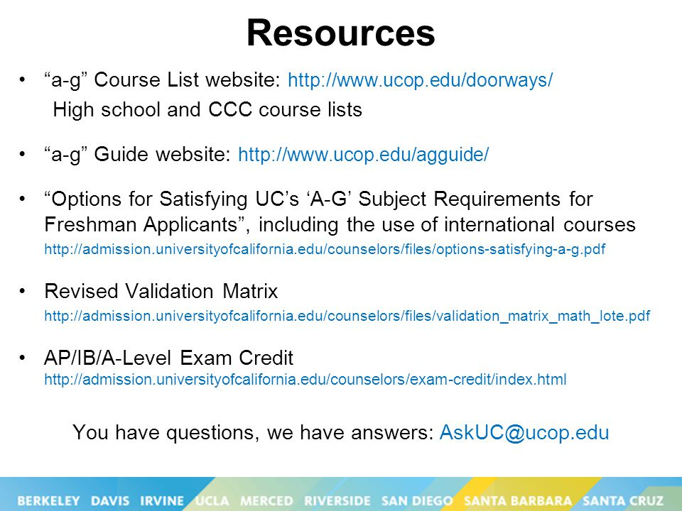 coursework other than a-g uc High school has a list of courses that have been certified by uc as meeting the 'a-g course category: languages other than uc application tips fall 2015.