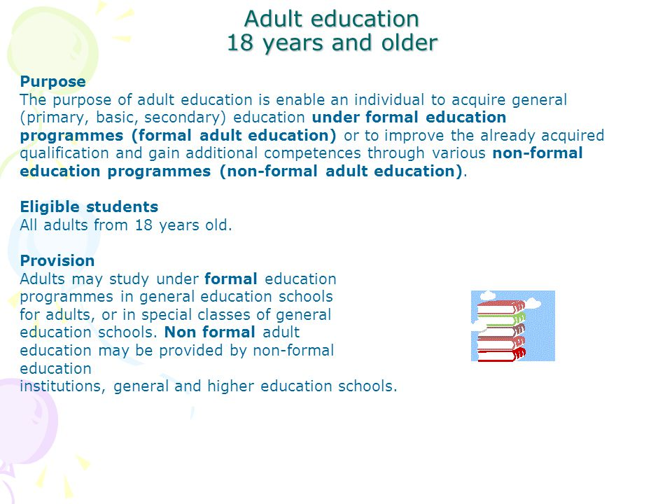 Adult education 18 years and older