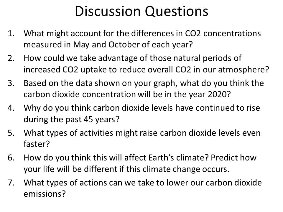 Discussion Questions What might account for the differences in CO2 concentrations measured in May and October of each year