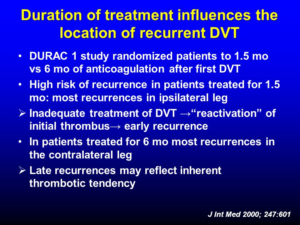 Duration of treatment influences the location of recurrent DVT