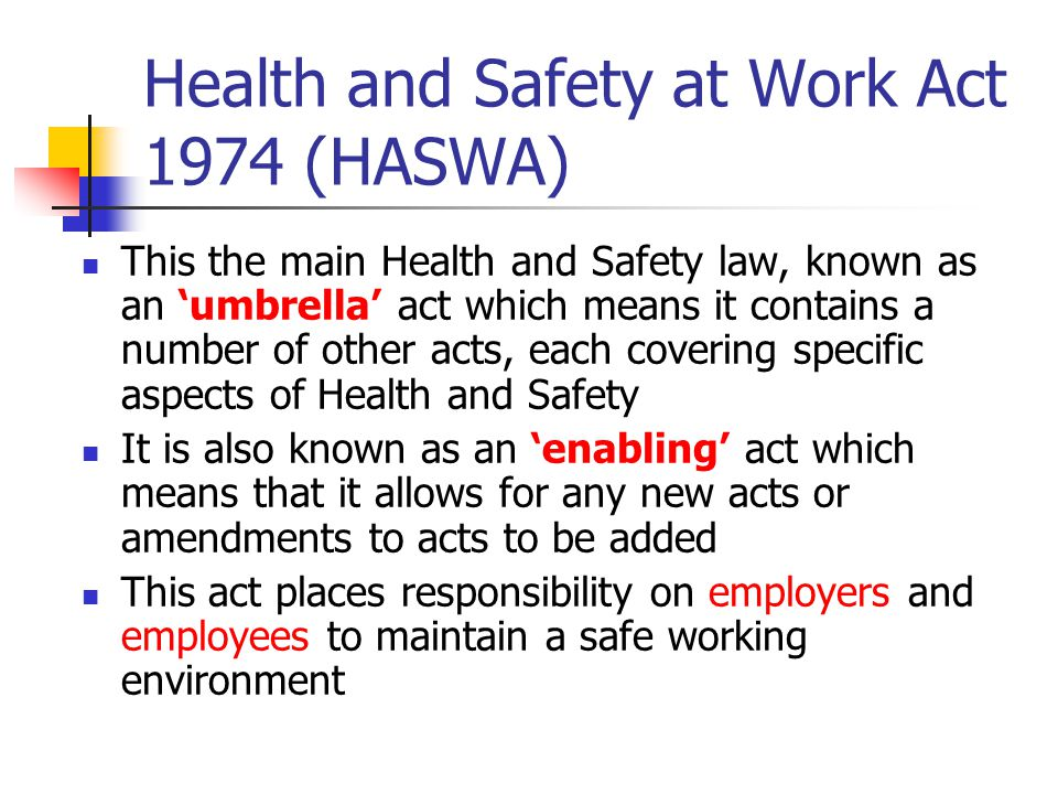 Essay on health and safety at work act