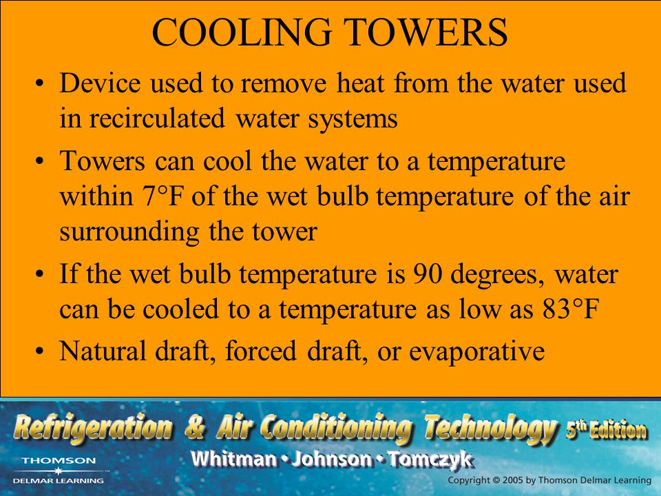 COOLING TOWERS Device used to remove heat from the water used in recirculated water systems.