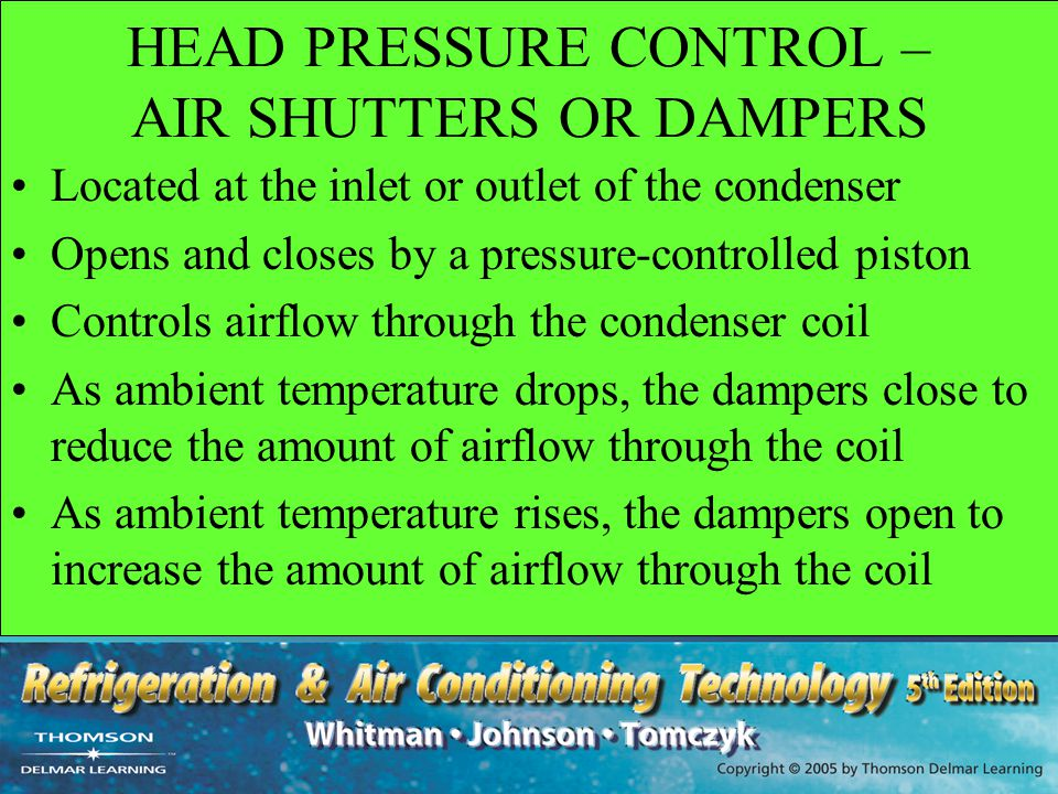 HEAD PRESSURE CONTROL – AIR SHUTTERS OR DAMPERS