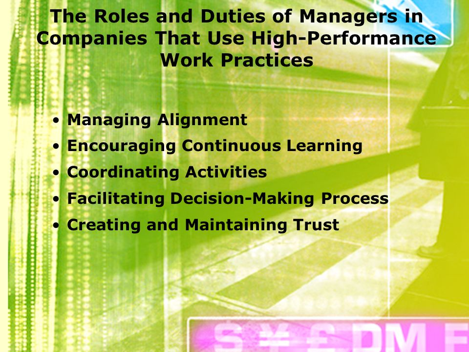 disadvantage of high performance work practices High performance work practices (hpwps) are employee management tactics that increase the productivity and profit of organizations when these tactics are applied systematically and fairly throughout the organization over time, they increase employee engagement, support high performance and productivity, build customer trust and loyalty, and in turn, increase profits.