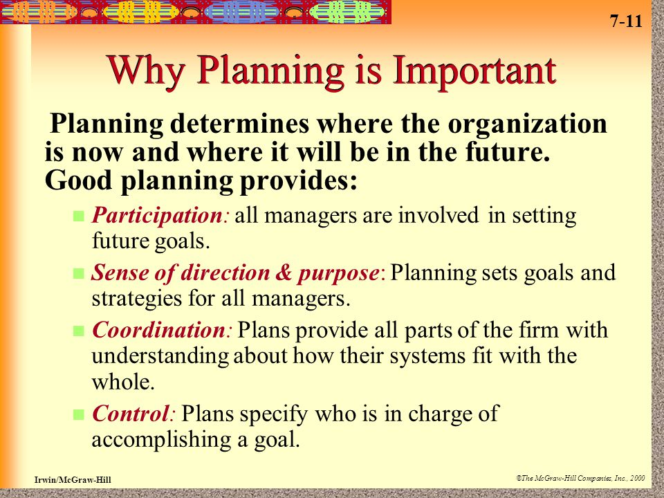 Why Planning is Important