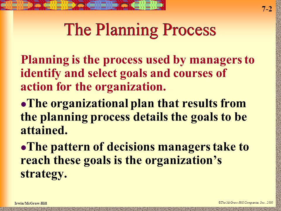 The Planning Process Planning is the process used by managers to identify and select goals and courses of action for the organization.