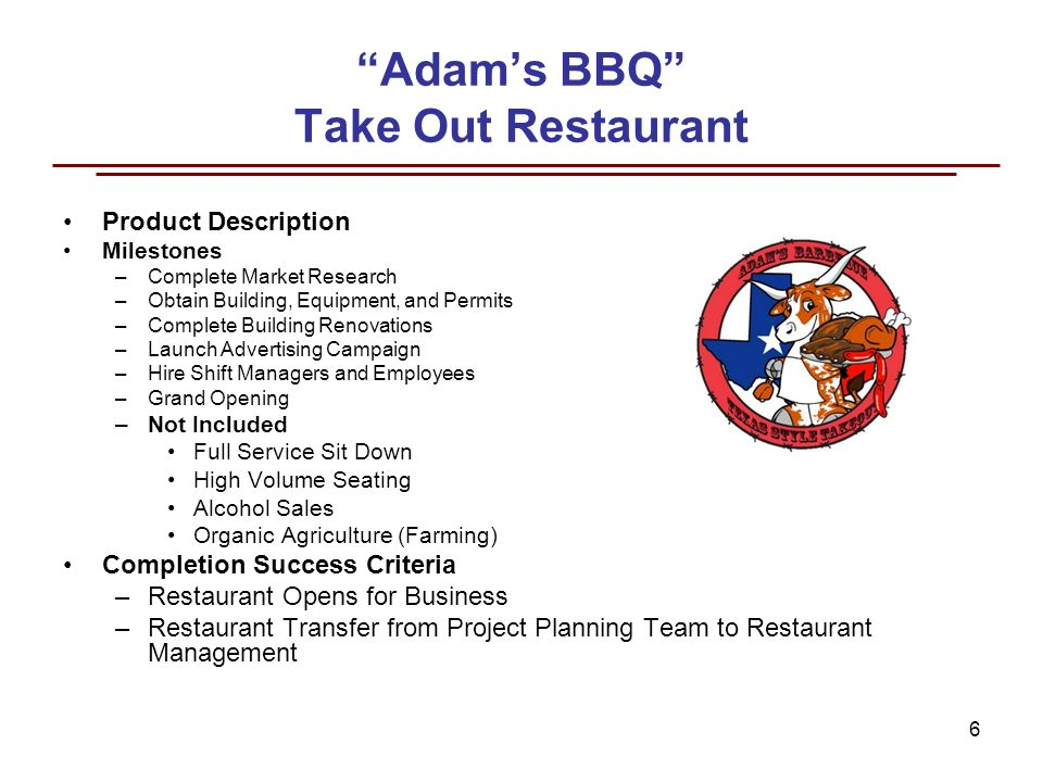 Adam S Bbq Take Out Restaurant Project Planning And