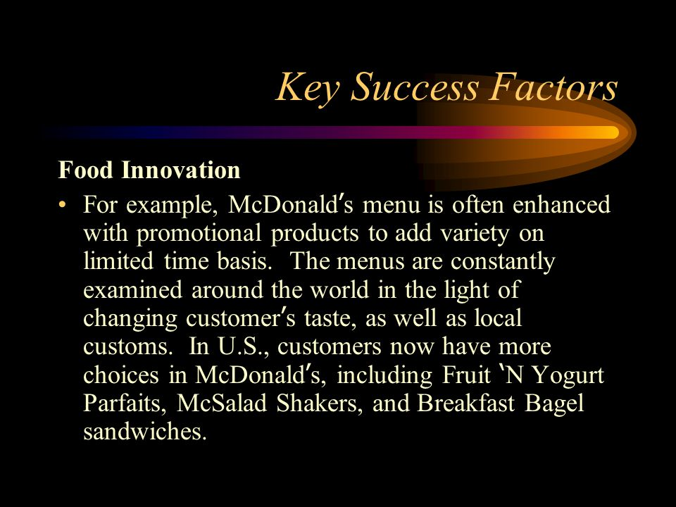 grocery industry key success factors Busa 4980 strategic management types of key success factors technology-related kfs's ⇒ sceintific research expertise (important in such fileds as pharmaceuticals, medicine,.