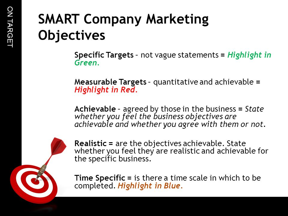 smart corporate marketing objectives Actually a business organization's marketing objectives should be  that your  objectives are smart or specific, measurable, achievable,.