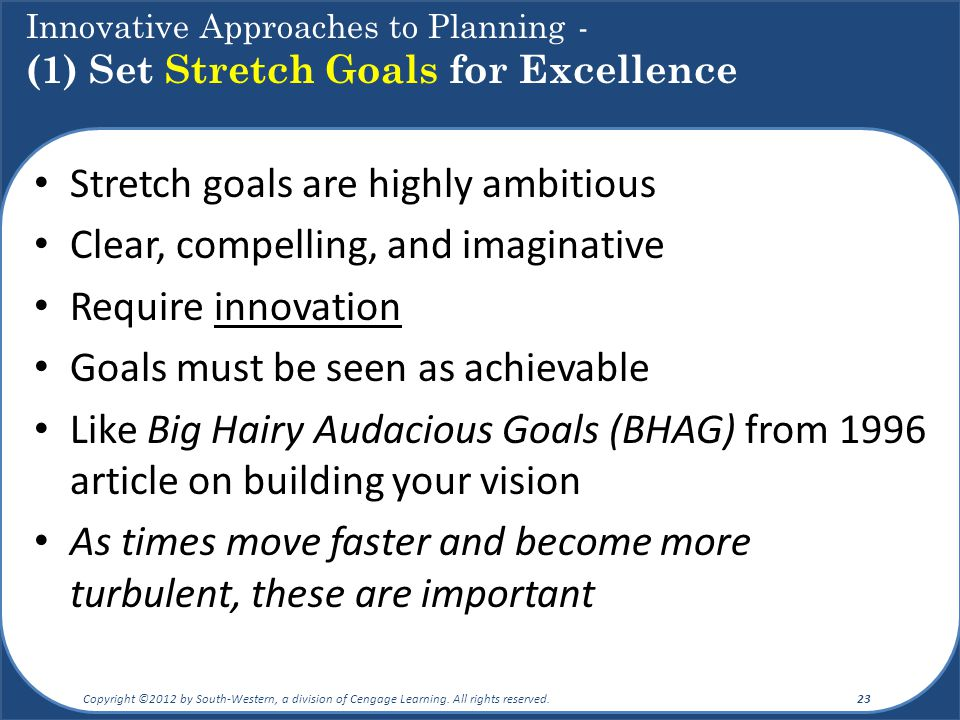 Stretch goals are highly ambitious Clear, compelling, and imaginative