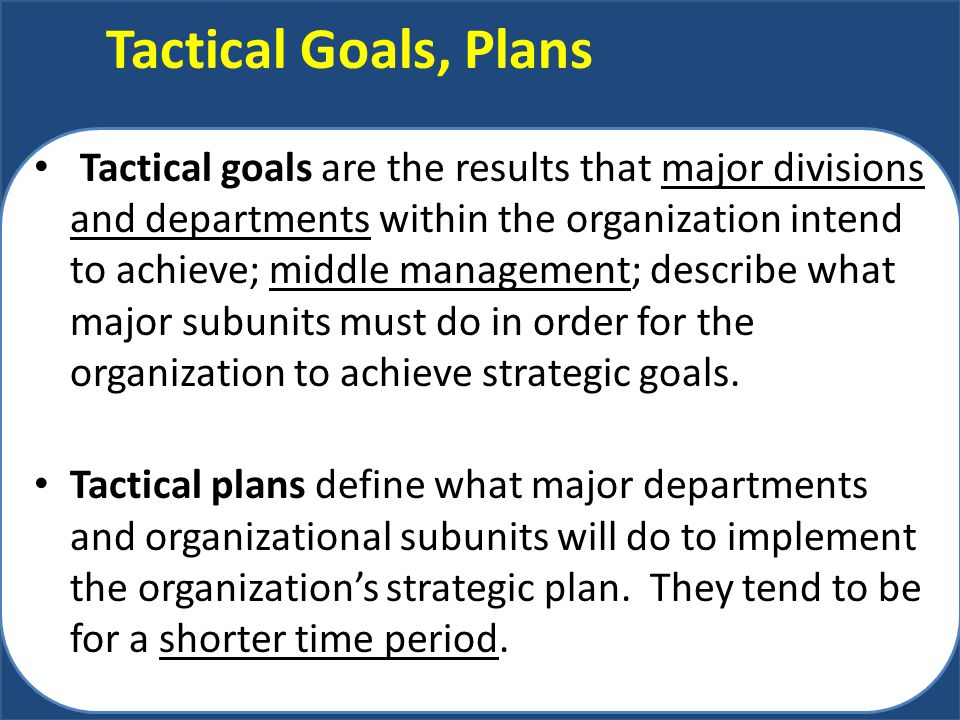 Tactical Goals, Plans